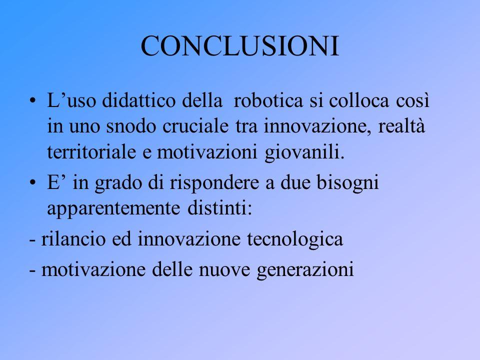 CONCLUSIONI Luso didattico della robotica si colloca così in uno snodo cruciale tra innovazione, realtà territoriale e motivazioni giovanili. E in gra