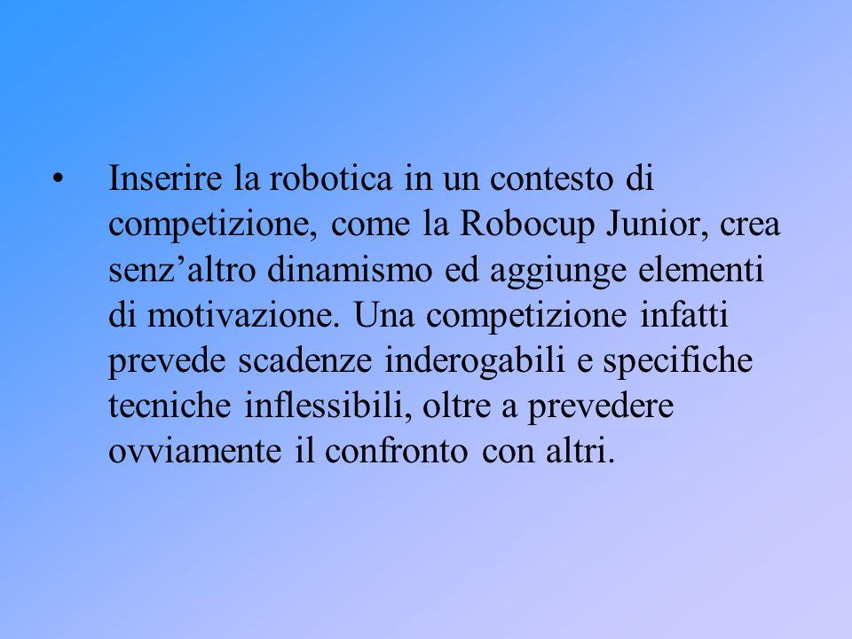 Inserire la robotica in un contesto di competizione, come la Robocup Junior, crea senzaltro dinamismo ed aggiunge elementi di motivazione. Una competi