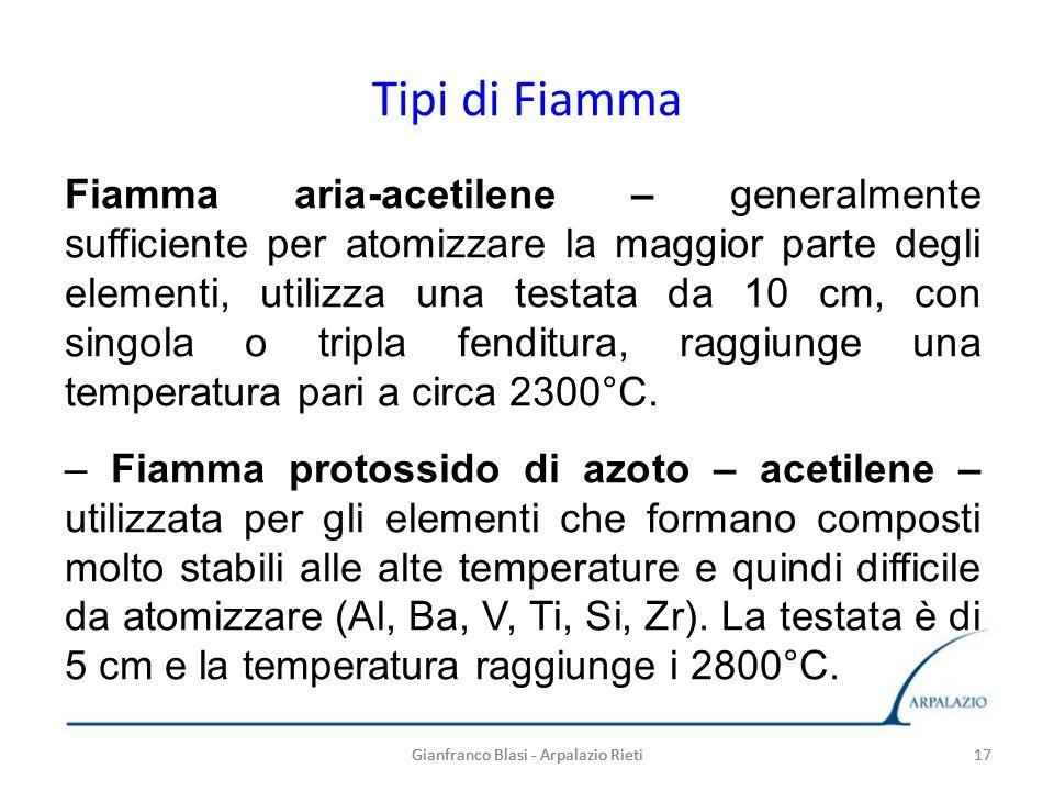 Gianfranco Blasi - Arpalazio Rieti 17 Tipi di Fiamma Gianfranco Blasi - Arpalazio Rieti17 Fiamma aria-acetilene – generalmente sufficiente per atomizz