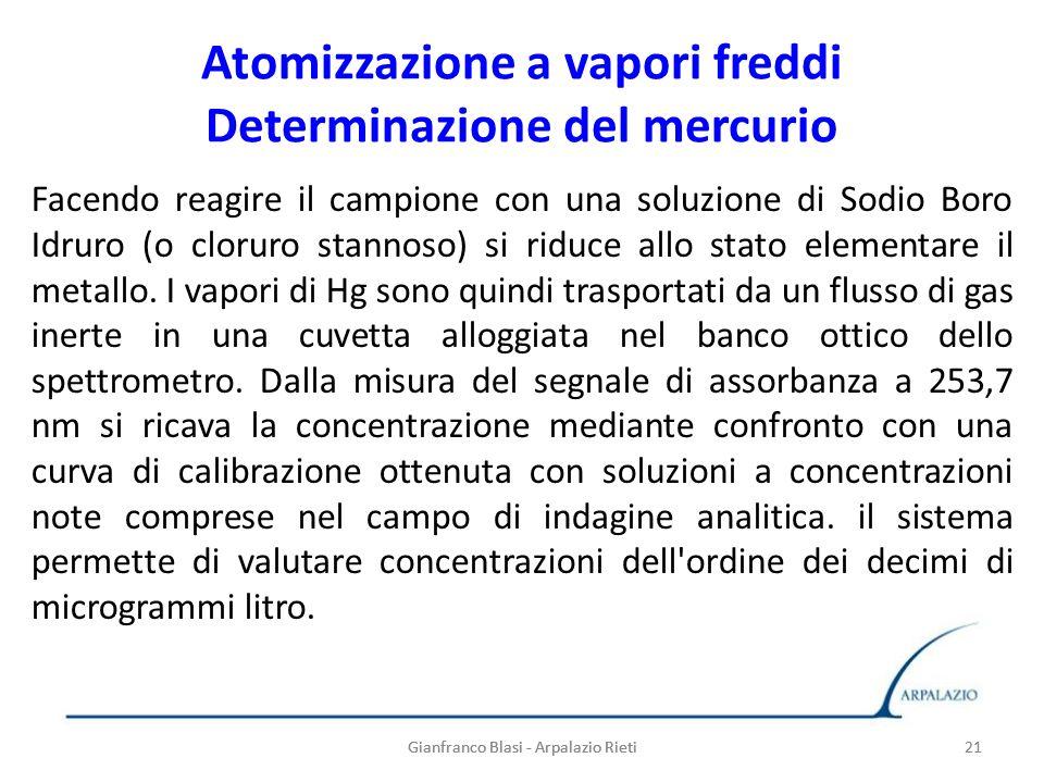 Gianfranco Blasi - Arpalazio Rieti 21 Atomizzazione a vapori freddi Determinazione del mercurio Facendo reagire il campione con una soluzione di Sodio
