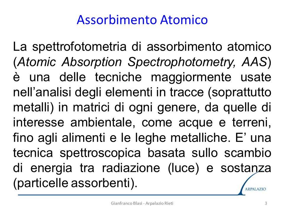 3 Assorbimento Atomico Gianfranco Blasi - Arpalazio Rieti3 La spettrofotometria di assorbimento atomico (Atomic Absorption Spectrophotometry, AAS) è u