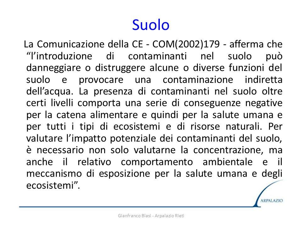 Gianfranco Blasi - Arpalazio Rieti Suolo La Comunicazione della CE - COM(2002)179 - afferma che lintroduzione di contaminanti nel suolo può danneggiar