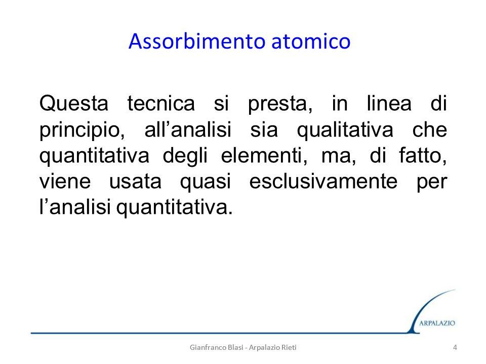 Gianfranco Blasi - Arpalazio Rieti 4 Assorbimento atomico Gianfranco Blasi - Arpalazio Rieti4 Questa tecnica si presta, in linea di principio, allanal