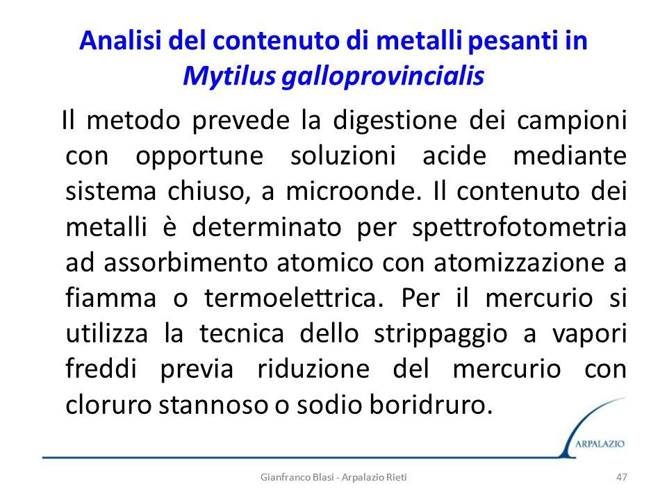 47 Analisi del contenuto di metalli pesanti in Mytilus galloprovincialis Il metodo prevede la digestione dei campioni con opportune soluzioni acide me