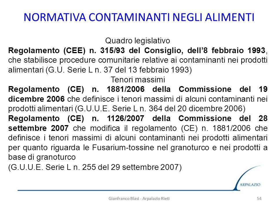 Gianfranco Blasi - Arpalazio Rieti 54 NORMATIVA CONTAMINANTI NEGLI ALIMENTI 54Gianfranco Blasi - Arpalazio Rieti Quadro legislativo Regolamento (CEE)