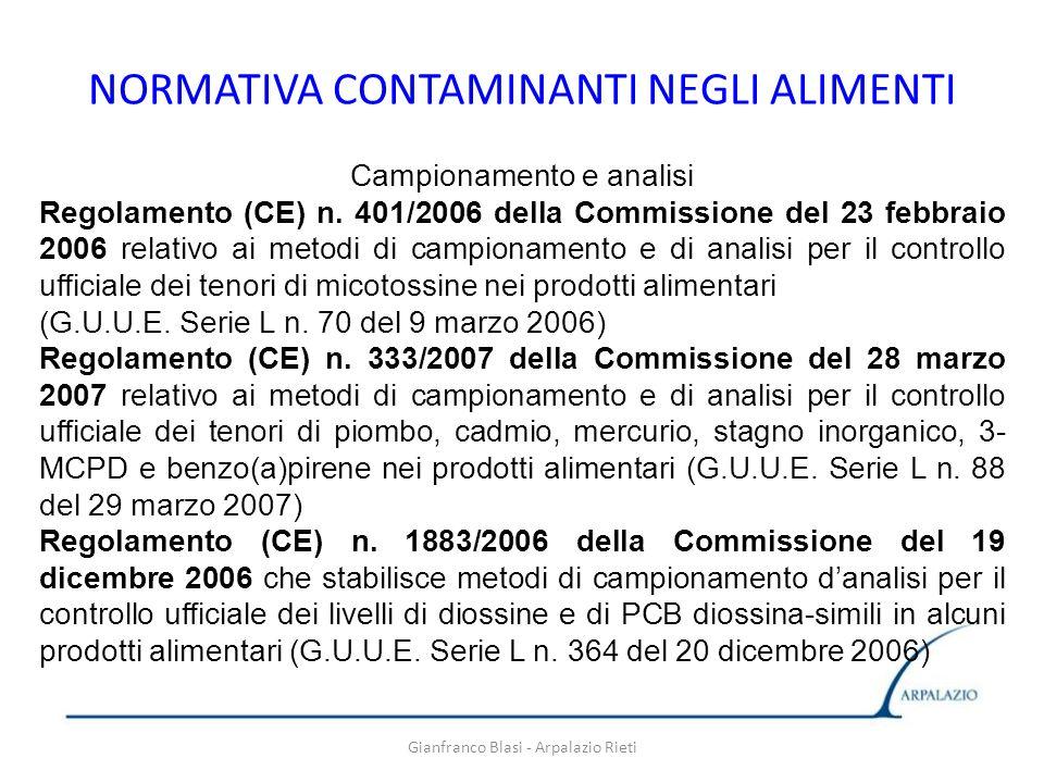 Gianfranco Blasi - Arpalazio Rieti NORMATIVA CONTAMINANTI NEGLI ALIMENTI Campionamento e analisi Regolamento (CE) n. 401/2006 della Commissione del 23