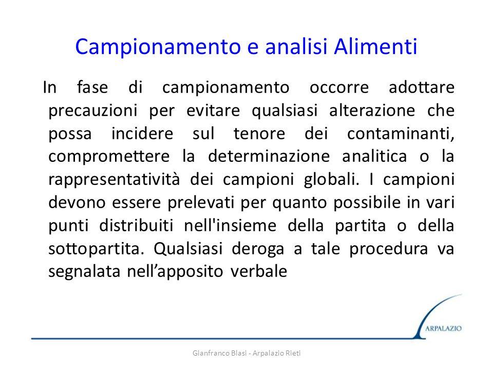 Gianfranco Blasi - Arpalazio Rieti Campionamento e analisi Alimenti In fase di campionamento occorre adottare precauzioni per evitare qualsiasi altera