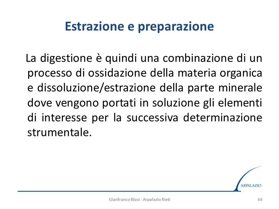 64 Estrazione e preparazione La digestione è quindi una combinazione di un processo di ossidazione della materia organica e dissoluzione/estrazione de