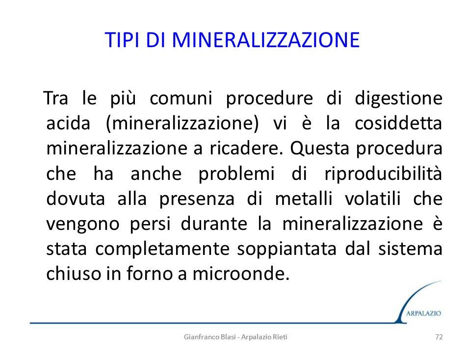 72 TIPI DI MINERALIZZAZIONE Tra le più comuni procedure di digestione acida (mineralizzazione) vi è la cosiddetta mineralizzazione a ricadere. Questa