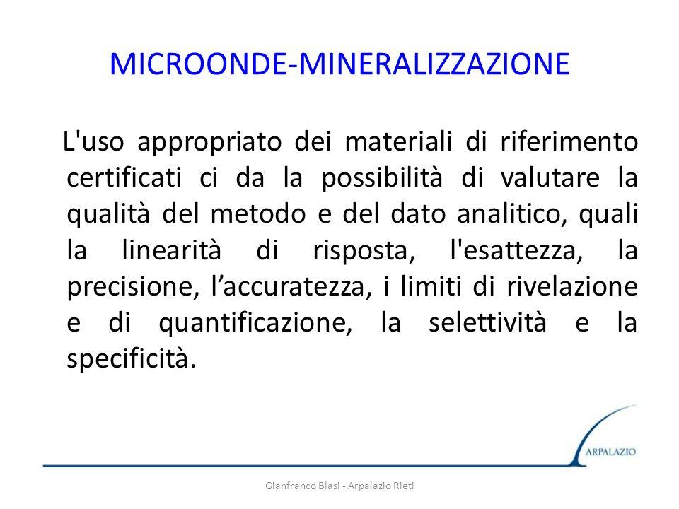 Gianfranco Blasi - Arpalazio Rieti MICROONDE-MINERALIZZAZIONE L'uso appropriato dei materiali di riferimento certificati ci da la possibilità di valut