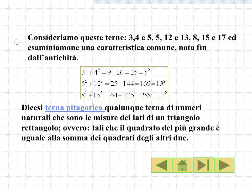 Consideriamo queste terne: 3,4 e 5, 5, 12 e 13, 8, 15 e 17 ed esaminiamone una caratteristica comune, nota fin dallantichità. Dicesi terna pitagorica