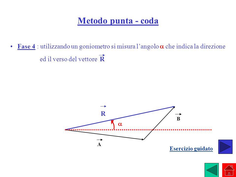 Metodo punta - coda Fase 4 : utilizzando un goniometro si misura langolo che indica la direzione ed il verso del vettore R A B R Esercizio guidato