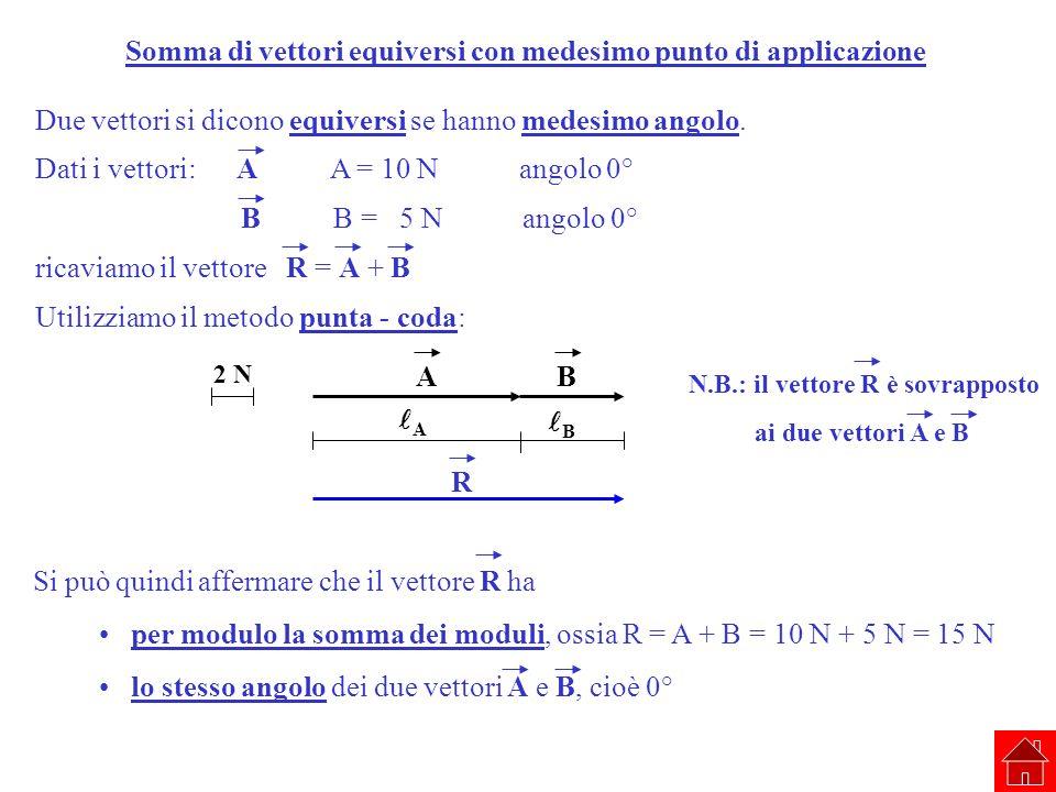Somma di vettori equiversi con medesimo punto di applicazione Due vettori si dicono equiversi se hanno medesimo angolo. Dati i vettori: A A = 10 N ang
