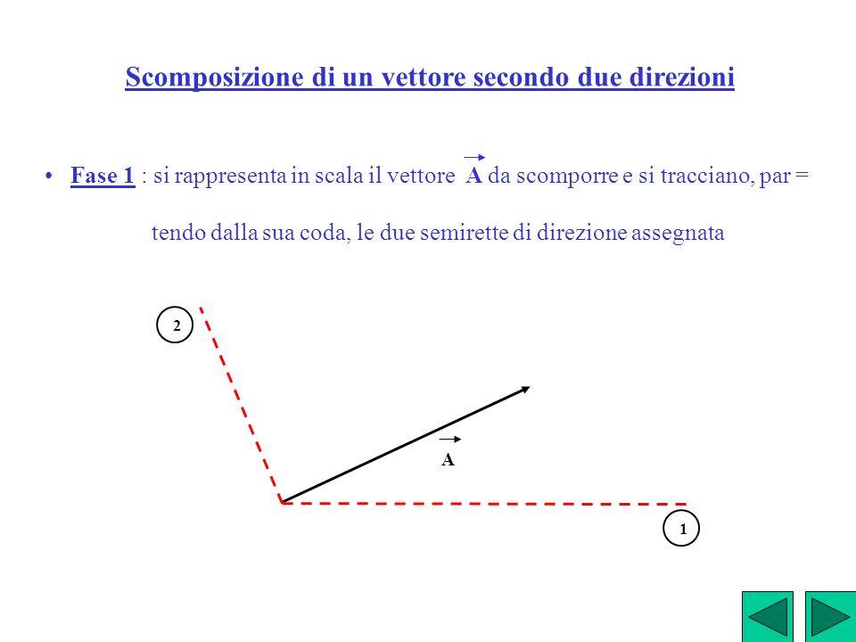Scomposizione di un vettore secondo due direzioni Fase 1 : si rappresenta in scala il vettore A da scomporre e si tracciano, par = tendo dalla sua cod