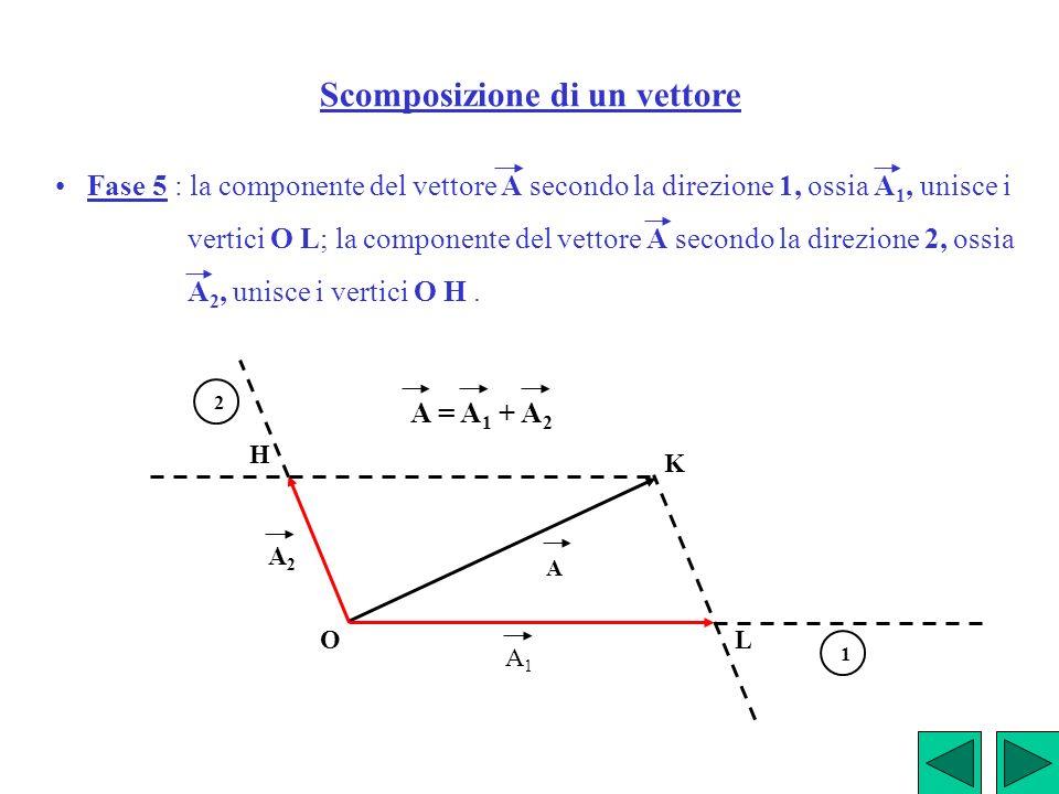Scomposizione di un vettore Fase 5 : la componente del vettore A secondo la direzione 1, ossia A 1, unisce i vertici O L; la componente del vettore A