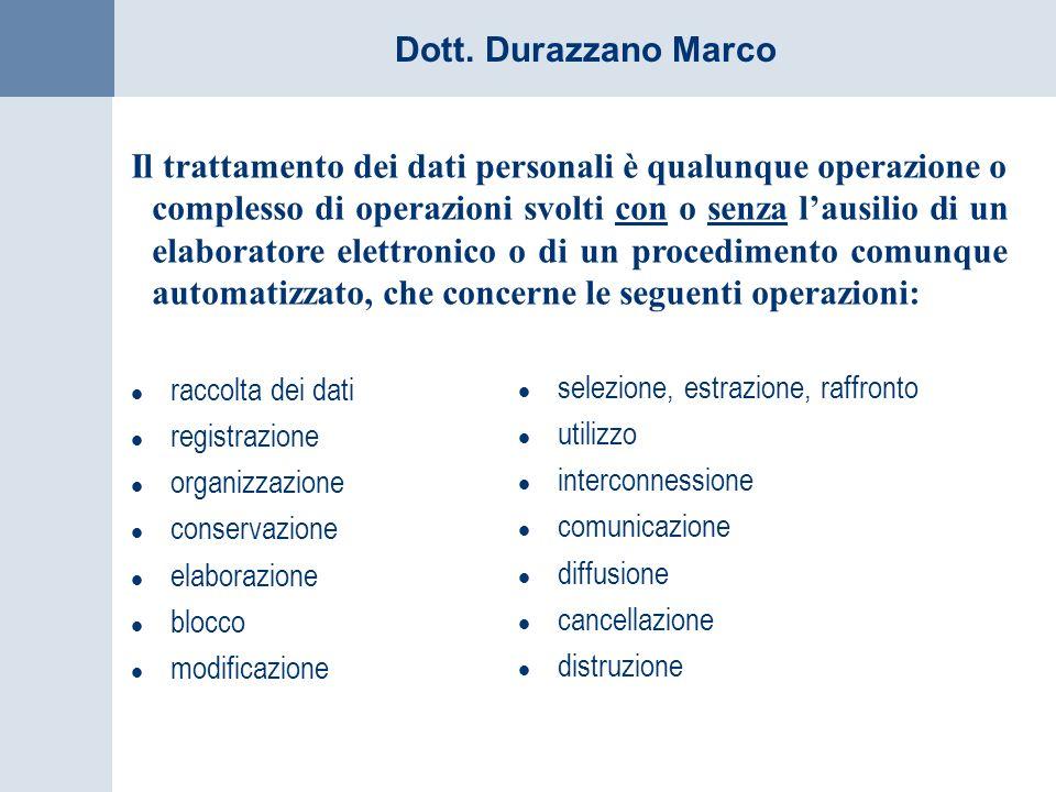 Dott. Durazzano Marco Il trattamento dei dati personali è qualunque operazione o complesso di operazioni svolti con o senza lausilio di un elaboratore
