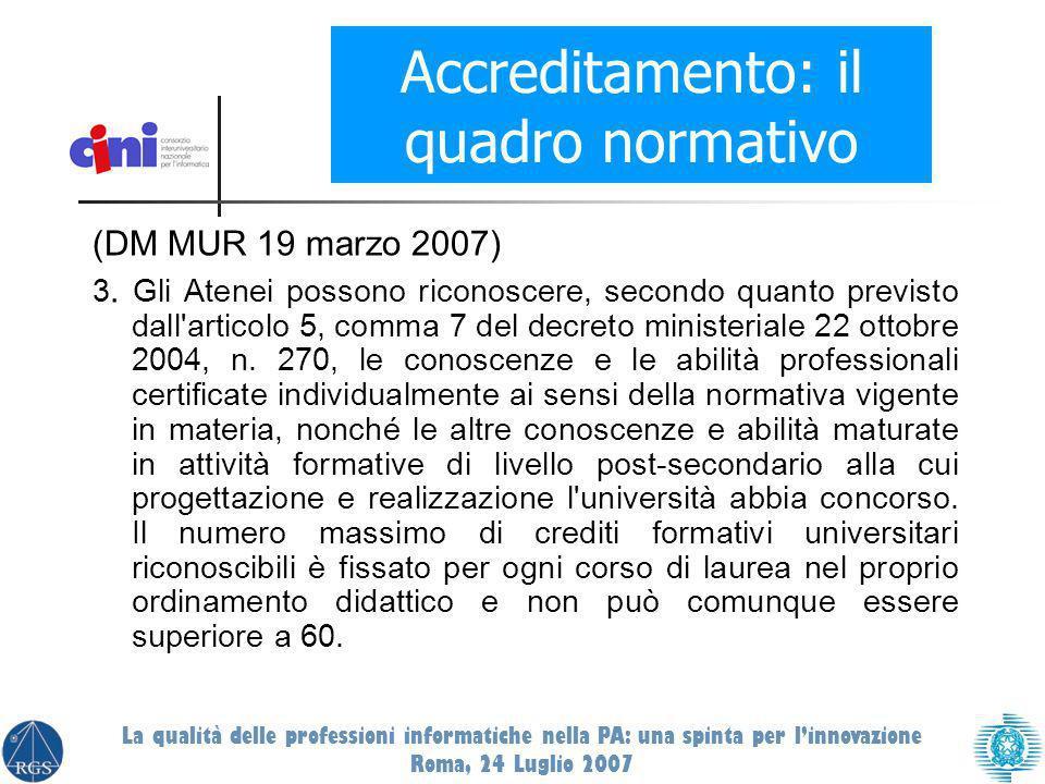 (DM MUR 19 marzo 2007) 3. Gli Atenei possono riconoscere, secondo quanto previsto dall'articolo 5, comma 7 del decreto ministeriale 22 ottobre 2004, n