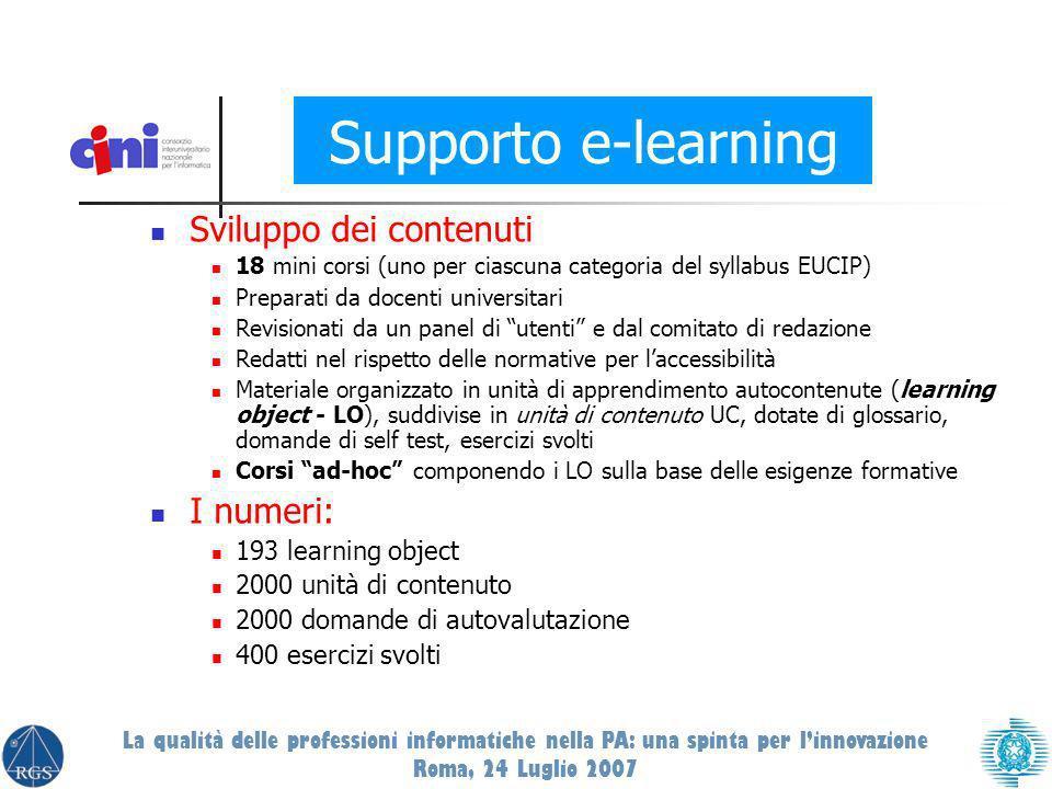 Sviluppo dei contenuti 18 mini corsi (uno per ciascuna categoria del syllabus EUCIP) Preparati da docenti universitari Revisionati da un panel di uten