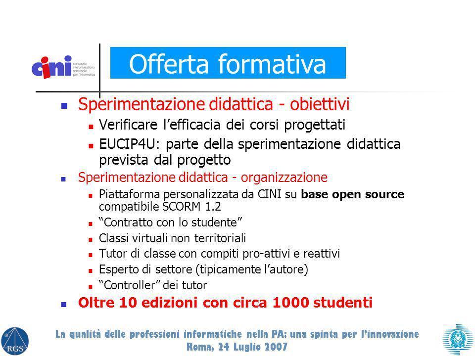 Sperimentazione didattica - obiettivi Verificare lefficacia dei corsi progettati EUCIP4U: parte della sperimentazione didattica prevista dal progetto