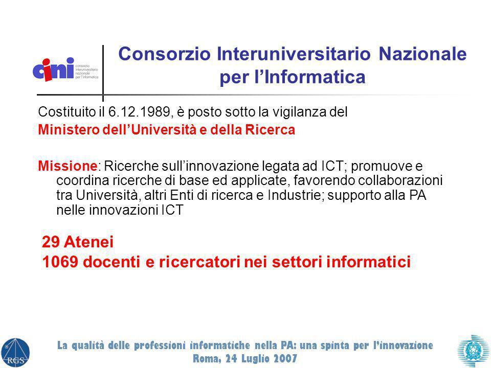 Consorzio Interuniversitario Nazionale per lInformatica Costituito il 6.12.1989, è posto sotto la vigilanza del Ministero dellUniversità e della Ricer