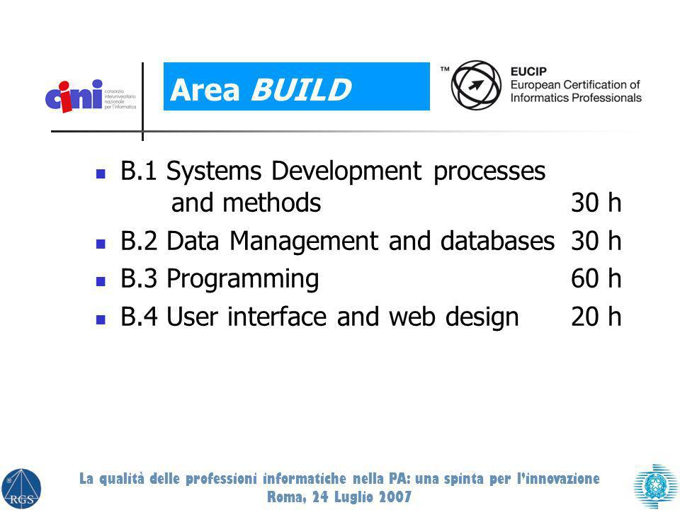 B.1 Systems Development processes and methods30 h B.2 Data Management and databases30 h B.3 Programming60 h B.4 User interface and web design20 h Area