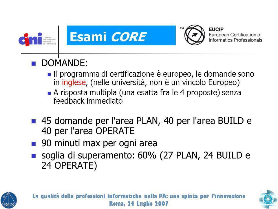 DOMANDE: il programma di certificazione è europeo, le domande sono in inglese, (nelle università, non è un vincolo Europeo) A risposta multipla (una esatta fra le 4 proposte) senza feedback immediato 45 domande per l area PLAN, 40 per l area BUILD e 40 per l area OPERATE 90 minuti max per ogni area soglia di superamento: 60% (27 PLAN, 24 BUILD e 24 OPERATE) Esami CORE La qualità delle professioni informatiche nella PA: una spinta per linnovazione Roma, 24 Luglio 2007