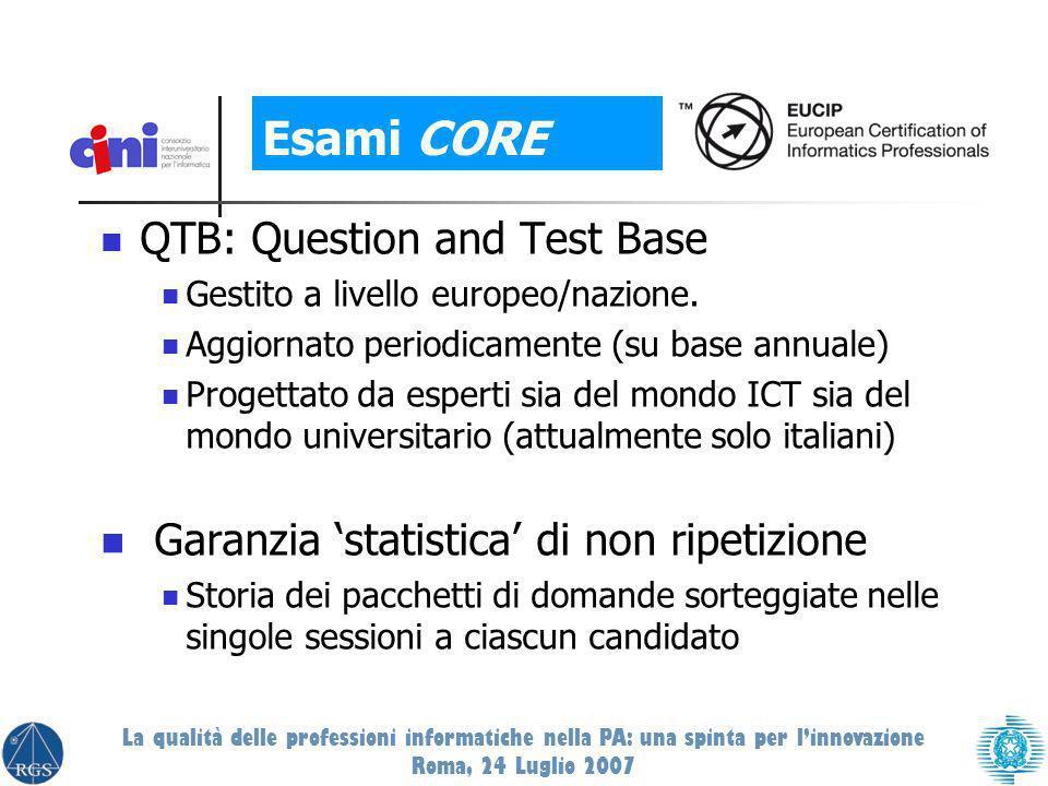 QTB: Question and Test Base Gestito a livello europeo/nazione.