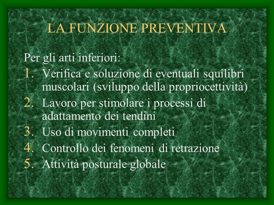 LA FUNZIONE PREVENTIVA Per gli arti inferiori: 1. Verifica e soluzione di eventuali squilibri muscolari (sviluppo della propriocettività) 2. Lavoro pe