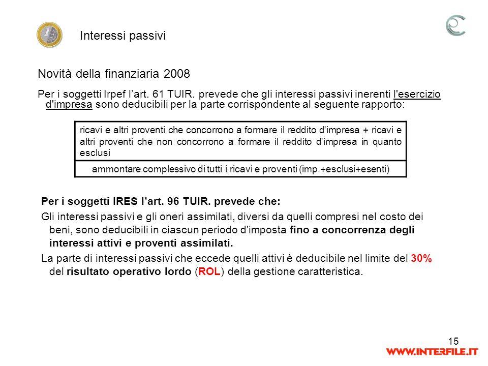 15 Per i soggetti Irpef lart. 61 TUIR. prevede che gli interessi passivi inerenti l'esercizio d'impresa sono deducibili per la parte corrispondente al