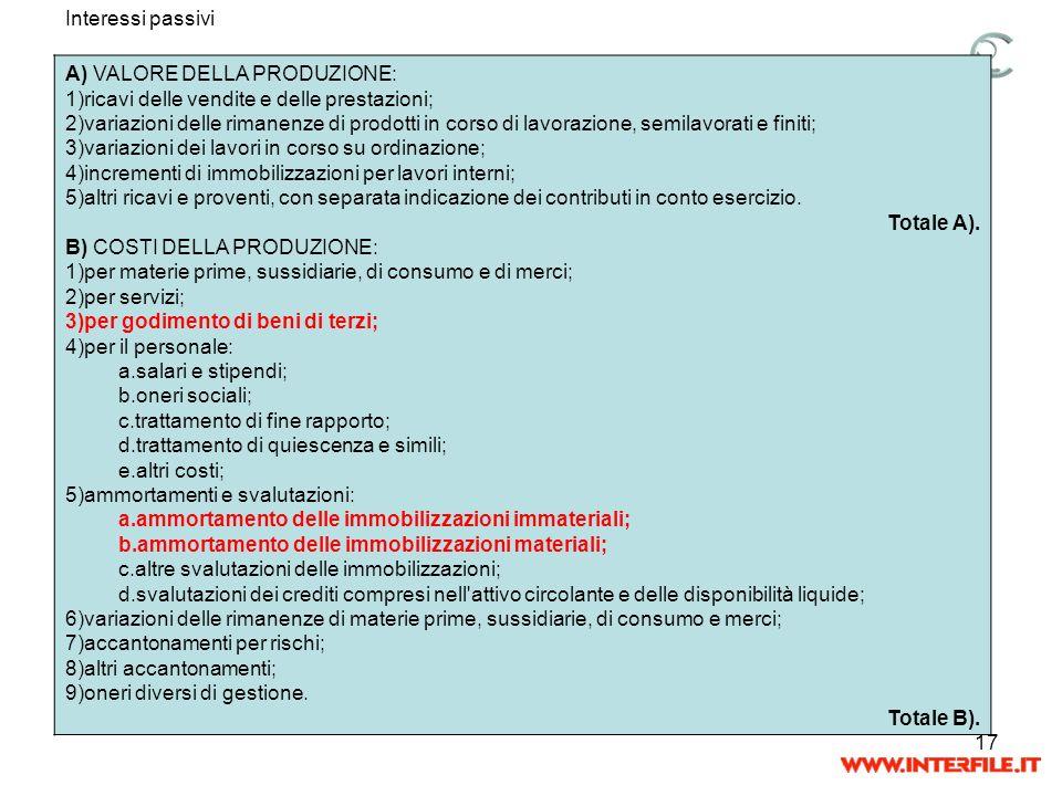17 Interessi passivi A) VALORE DELLA PRODUZIONE: 1)ricavi delle vendite e delle prestazioni; 2)variazioni delle rimanenze di prodotti in corso di lavo