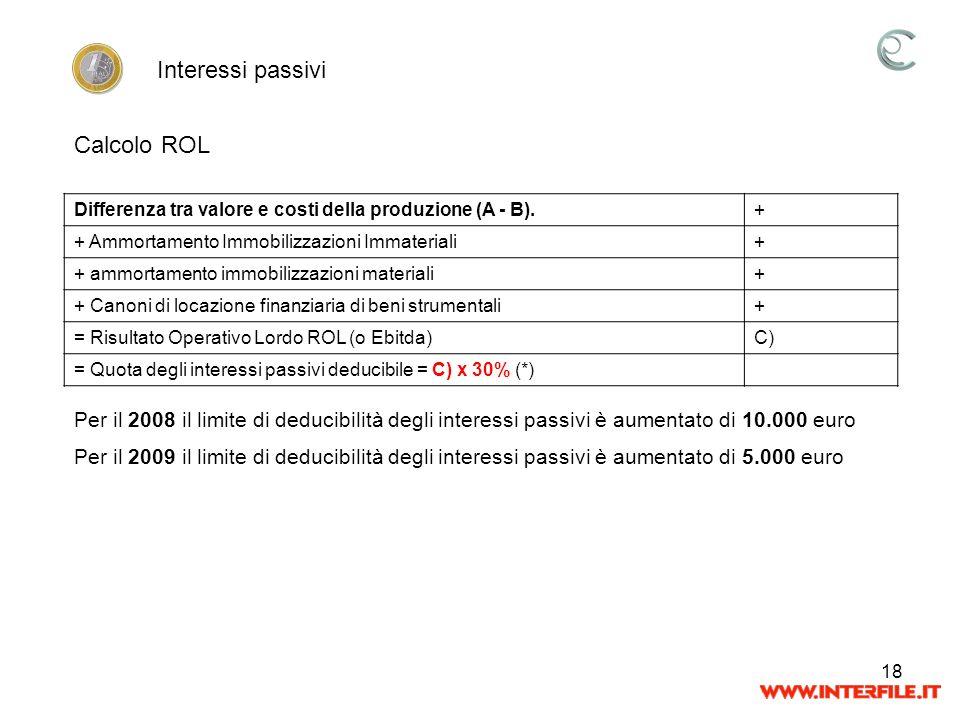 18 Per il 2008 il limite di deducibilità degli interessi passivi è aumentato di 10.000 euro Per il 2009 il limite di deducibilità degli interessi pass