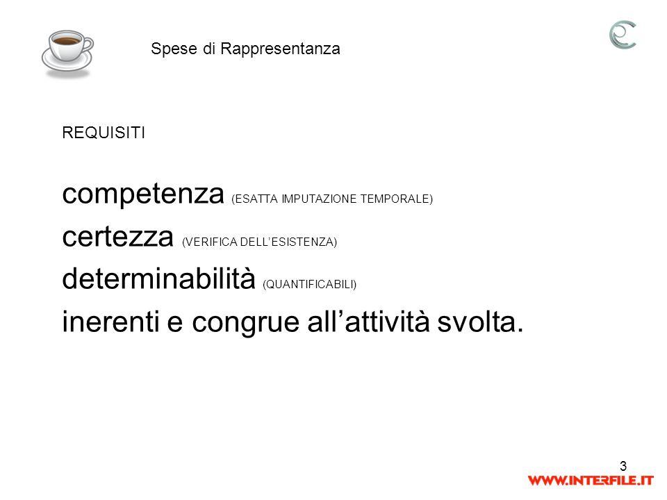 3 competenza (ESATTA IMPUTAZIONE TEMPORALE) certezza (VERIFICA DELLESISTENZA) determinabilità (QUANTIFICABILI) inerenti e congrue allattività svolta.