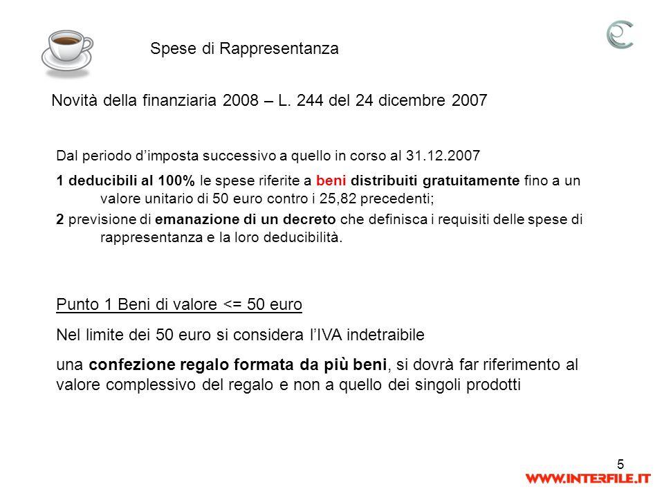 5 Spese di Rappresentanza Novità della finanziaria 2008 – L. 244 del 24 dicembre 2007 Dal periodo dimposta successivo a quello in corso al 31.12.2007
