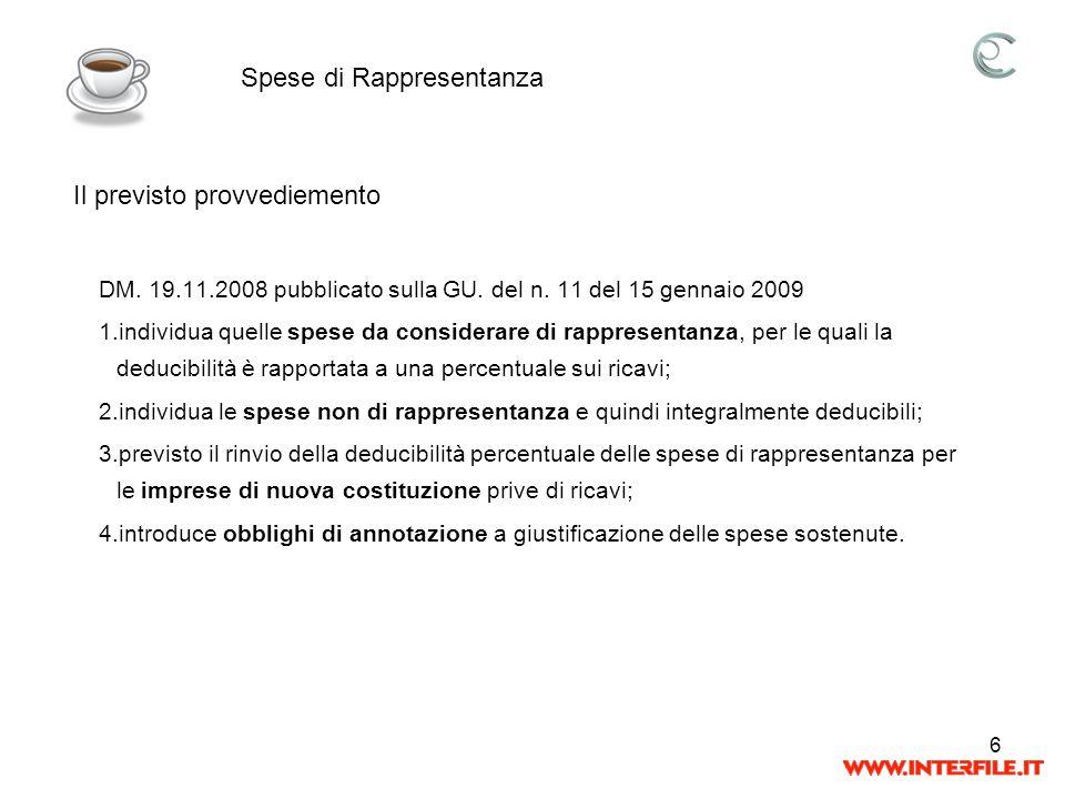 6 DM. 19.11.2008 pubblicato sulla GU. del n. 11 del 15 gennaio 2009 1.individua quelle spese da considerare di rappresentanza, per le quali la deducib