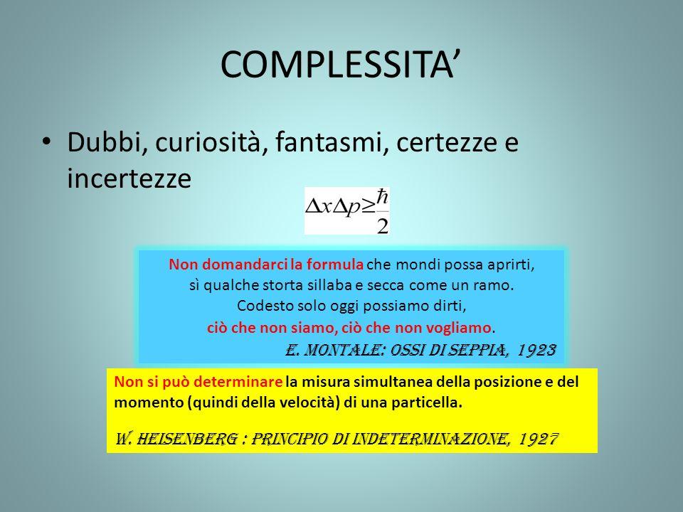 Scienza della complessità 1)la natura sceglie- biforcazioni (Prigogine) 2)il tutto è maggiore della somma delle parti 3)effetto farfalla 4)le montagne non sono piramidi 5)le reti (1)Non determinismo (2)Emergenze, non riduzionismo (3)Imprevedibilità (4)Non riduzionismo (5)lorganizzazione- complexus: tessuto insieme