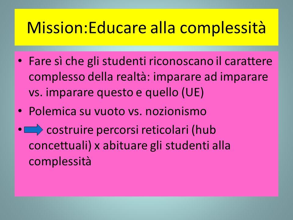 Mission:Educare alla complessità Fare sì che gli studenti riconoscano il carattere complesso della realtà: imparare ad imparare vs. imparare questo e