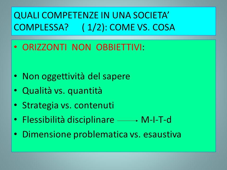 QUALI COMPETENZE IN UNA SOCIETA COMPLESSA?( 1/2): COME VS. COSA ORIZZONTI NON OBBIETTIVI: Non oggettività del sapere Qualità vs. quantità Strategia vs
