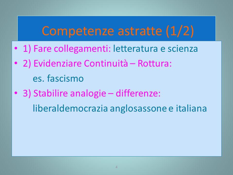 4 Competenze astratte (1/2) 1) Fare collegamenti: letteratura e scienza 2) Evidenziare Continuità – Rottura: es. fascismo 3) Stabilire analogie – diff