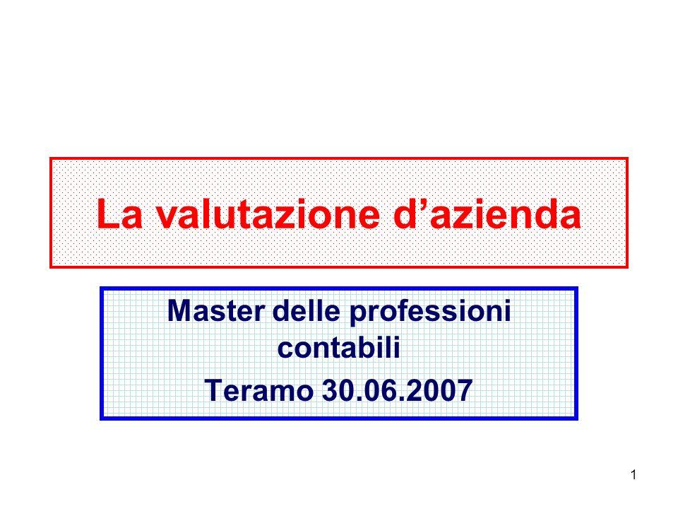 1 La valutazione dazienda Master delle professioni contabili Teramo 30.06.2007