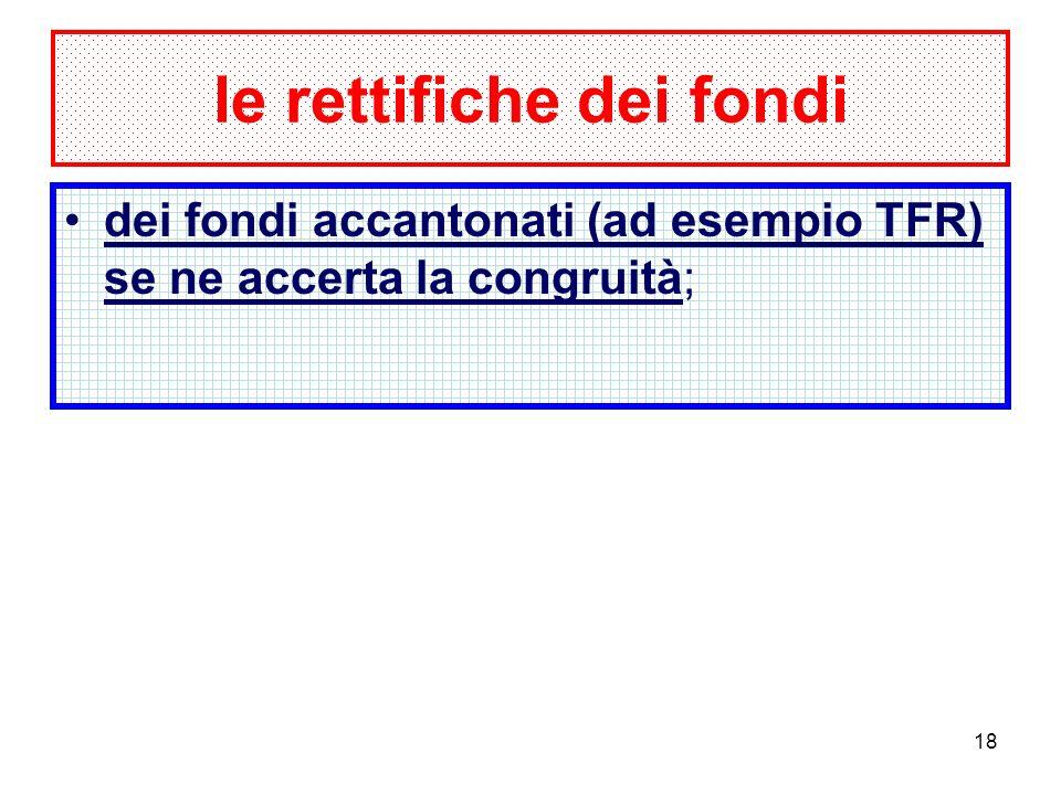 18 le rettifiche dei fondi dei fondi accantonati (ad esempio TFR) se ne accerta la congruità;