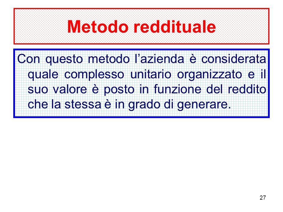 27 Metodo reddituale Con questo metodo lazienda è considerata quale complesso unitario organizzato e il suo valore è posto in funzione del reddito che la stessa è in grado di generare.