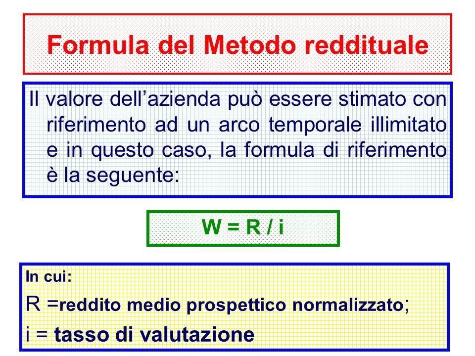 28 Formula del Metodo reddituale Il valore dellazienda può essere stimato con riferimento ad un arco temporale illimitato e in questo caso, la formula di riferimento è la seguente: W = R / i In cui: R = reddito medio prospettico normalizzato ; i = tasso di valutazione
