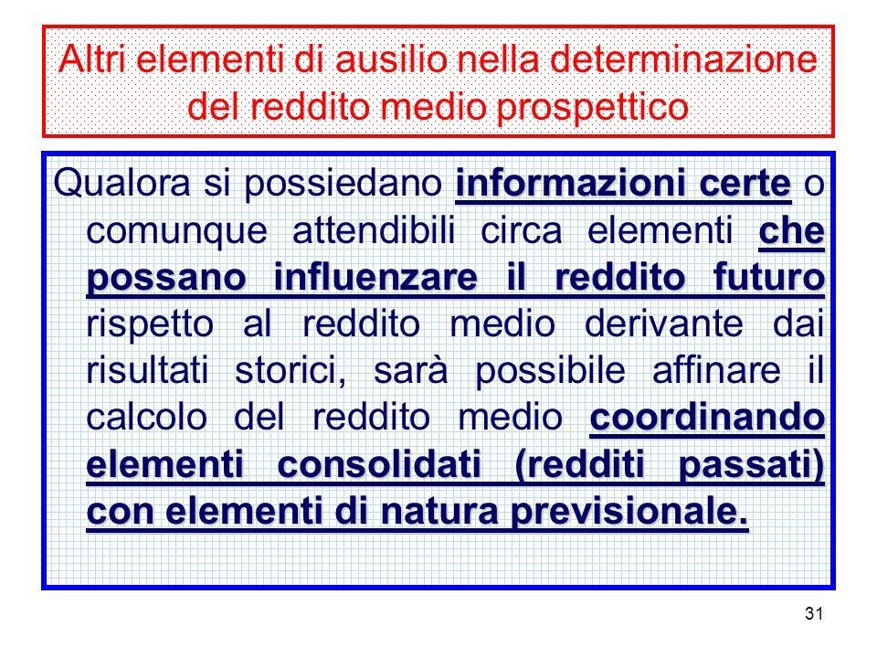 31 Altri elementi di ausilio nella determinazione del reddito medio prospettico informazioni certe che possano influenzare il reddito futuro coordinando elementi consolidati (redditi passati) con elementi di natura previsionale.