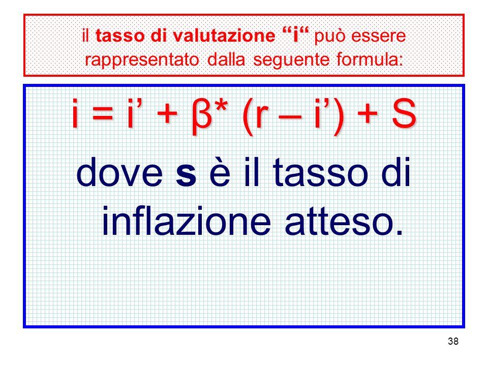 38 i il tasso di valutazione i può essere rappresentato dalla seguente formula: i = i + β* (r – i) + S dove s è il tasso di inflazione atteso.