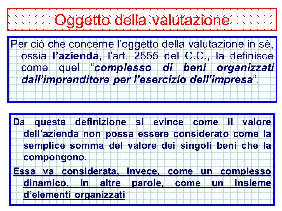 5 Oggetto della valutazione Per ciò che concerne loggetto della valutazione in sè, ossia lazienda, lart.