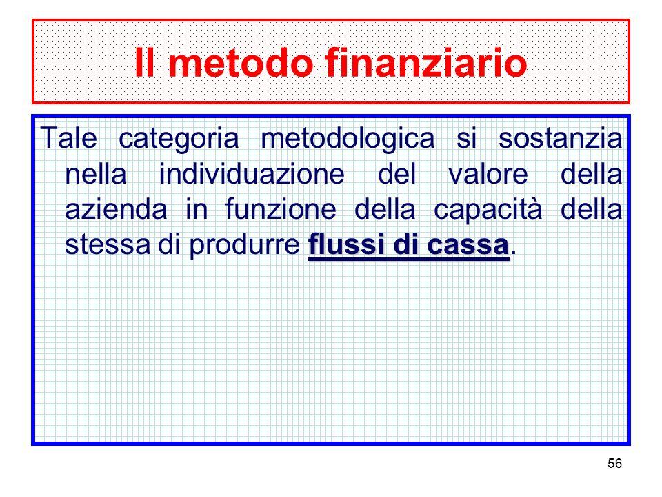 56 Il metodo finanziario flussi di cassa Tale categoria metodologica si sostanzia nella individuazione del valore della azienda in funzione della capacità della stessa di produrre flussi di cassa.