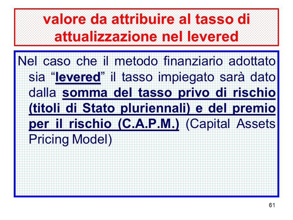 61 valore da attribuire al tasso di attualizzazione nel levered levered Nel caso che il metodo finanziario adottato sia levered il tasso impiegato sarà dato dalla somma del tasso privo di rischio (titoli di Stato pluriennali) e del premio per il rischio (C.A.P.M.) (Capital Assets Pricing Model)
