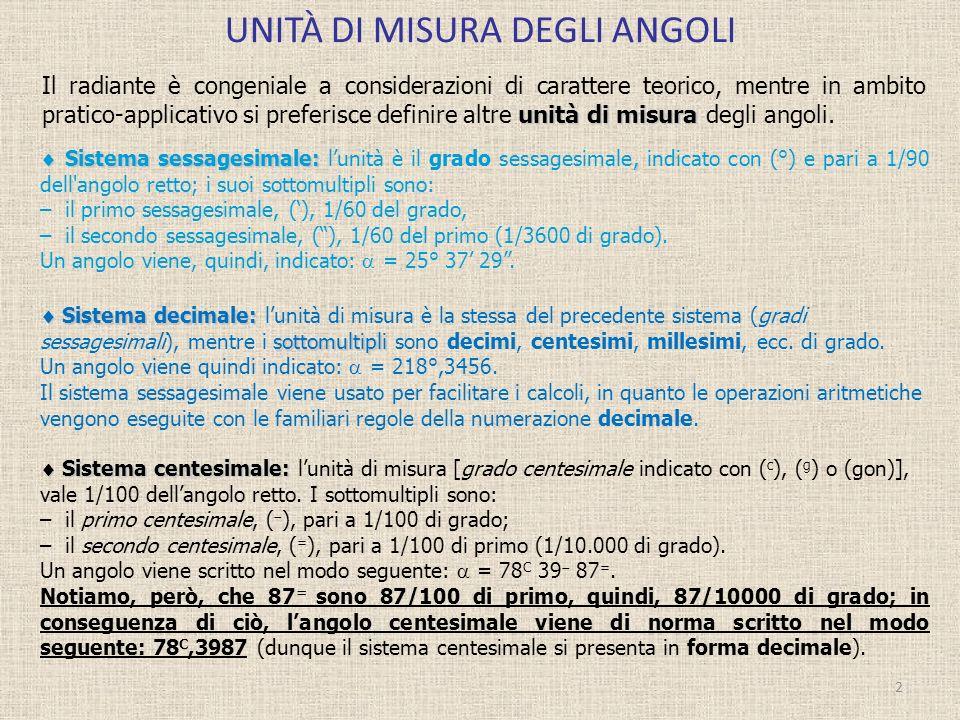 UNITÀ DI MISURA DEGLI ANGOLI 2 unità di misura Il radiante è congeniale a considerazioni di carattere teorico, mentre in ambito pratico-applicativo si