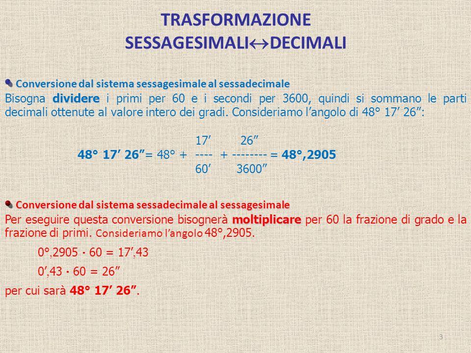 TRASFORMAZIONE SESSAGESIMALI DECIMALI 3 Conversione dal sistema sessagesimale al sessadecimale dividere Bisogna dividere i primi per 60 e i secondi pe