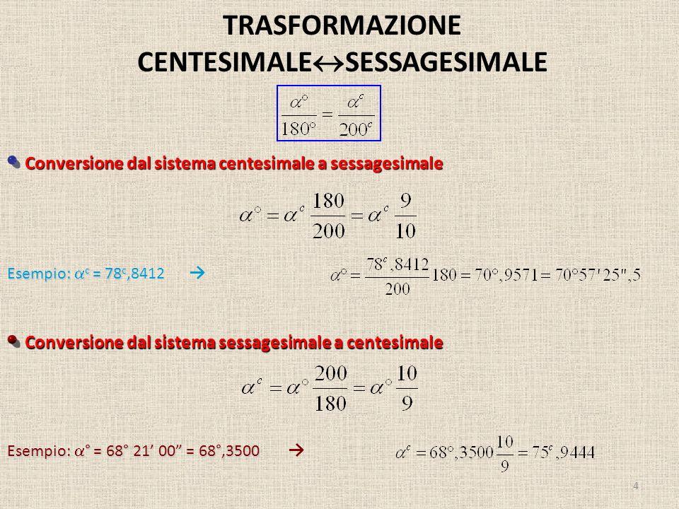 TRASFORMAZIONE CENTESIMALE SESSAGESIMALE 4 Conversione dal sistema centesimale a sessagesimale Conversione dal sistema sessagesimale a centesimale Ese